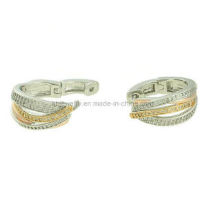 Fashionable Copper Jewelry Plated Hoop Earrings with CZ (KE3148) pictures & photos