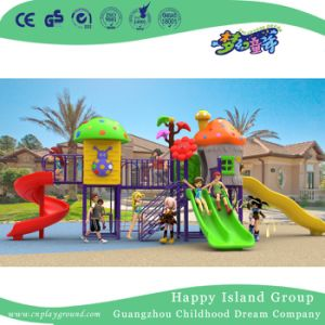 2018 New Outdoor Cartoon Double Slide Children Mushroom House Playground (H17-A19) pictures & photos