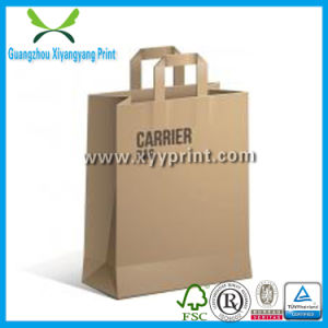 Custom Size Flat Handle Kraft Paper Bag Shopping Bag with Logo pictures & photos