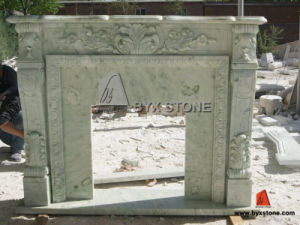 Green Marble Stone Fireplace with Flower Carving pictures & photos