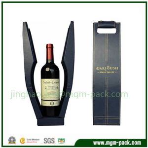 Black Special Design PU Leather Wrapping Wood Wine Box pictures & photos