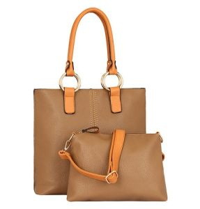 Mixeshop Women′s Fashion Jet Set Signature Large Tote Handbag Brown pictures & photos
