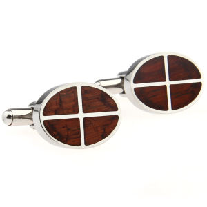 Stainless Steel Cufflink with Rosewood