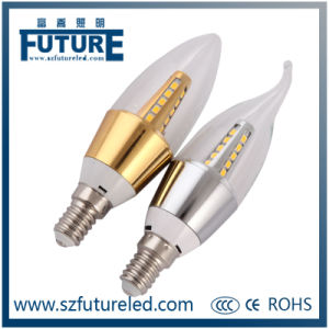 Future LED Candle Light SMD2835 3W Candle Bulb with Gold Aluminum Housing pictures & photos