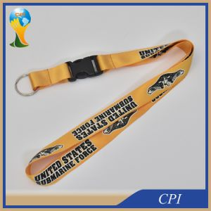 One Side Imprint Logo Nylon Lanyard with Key Ring pictures & photos