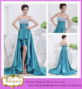 Elegant Best Selling Sweetheart Neckline Silk Satin Short Front Long Back Evening Dresses (WD43) pictures & photos