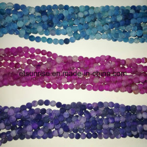 Semi Precious Stone Natural Crystal Matte Frosted Finished Cracked Agate Onyx Bead pictures & photos
