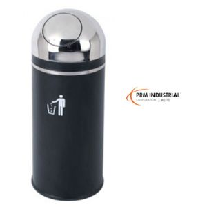 Round Type with Flip Black Powder Coated Steel Trash Bins pictures & photos