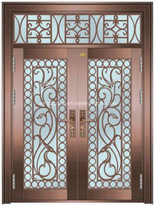 Iran Style Exterior Security Steel Iron Copper Glass Door (W-GB-10) pictures & photos