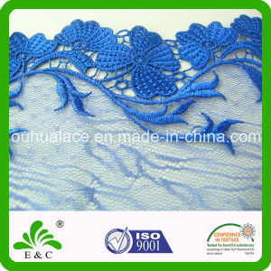 Soluble Blue Floral Pattern Embroidery Mesh Lace