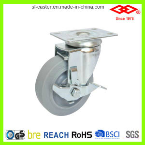 100mm Rubber Wheel Side Brake Caster (P120-34FK100X32Z) pictures & photos