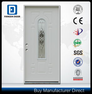 Hot Selling Steel Center Arch Decorative Glass Entry Prehung Metal Door pictures & photos