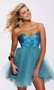 Sequin with Flower Organza Short Evening Dresses (ED3020) pictures & photos