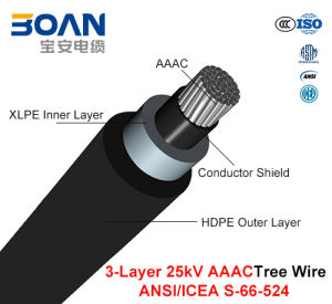 Tree Wire Cable 25 Kv 3-Layer AAAC (ANSI/ICEA S-66-524) pictures & photos
