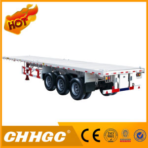 3 Axle Flatbed Semi Trailer with Front Wall pictures & photos