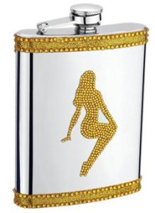 8oz Dancing Girl Diamante Stainless Steel Hip Flask
