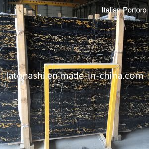 Natural Slabs Italian Black Portoro Marble Tile pictures & photos