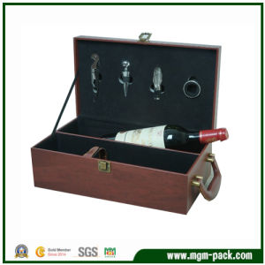 Custom Printed Coffee Wooden Wine Box with Handle pictures & photos