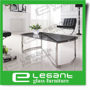 Simple Clear Tempered Glass Table on Stainless Steel Tube pictures & photos