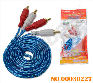 2 RCA to 2 RCA AV Cable with Golden Plug (AV-204G-1.8M-gold- blue-red packing) pictures & photos
