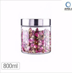 Food Grade 800ml-2000ml Glass Jar for Storage Food with Ss Metal Lid pictures & photos