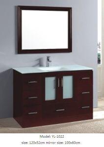Bathroom Cabinet Wooden Vanity with Glass Sink