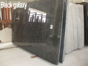 India Black Galaxy Granite Slabs, Countertops, Natural Black Stone Tiles pictures & photos