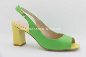 Sexy Comfort Medium High Heels Lady Leather Fashion Sandal pictures & photos
