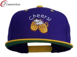 Purple Gold Cheers with Beer Mugs Embroidered Snapback Hat (01075) pictures & photos