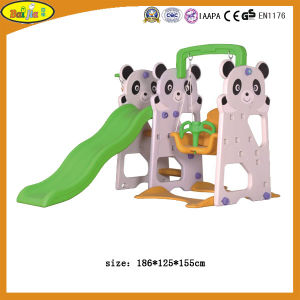 Children Plastic Panda Slide with Swing