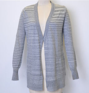 100%Cotton New Striped Long Women Knit Open Cardigan pictures & photos