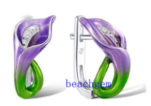 Epoxy Resin Flower Sterling Silver Earrings (E305354) pictures & photos