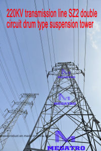 Megatro 220kv Transmission Line Sz2 Double Circuit Drum Type Suspension Tower pictures & photos