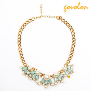 New Fashion Alloy Flower Necklace with Pearl Decorated pictures & photos