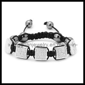 Xg-Yk32 Square Crystal Paved Beads Macrame Bracelet
