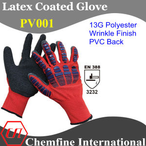 13G Red Polyester Knitted Glove with Black Latex Wrinkle Coating & PVC Back/ En388: 3232 pictures & photos