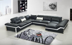 Modern Living Room Wood Frame Big Leather Sofa with Table (S069)