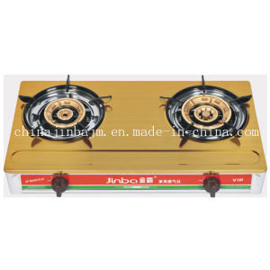 2 Burner Gloden Color Coated Stainless Steel Gas Stove pictures & photos
