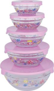 Glass Storage Bowl 5PCS Set with Decals pictures & photos