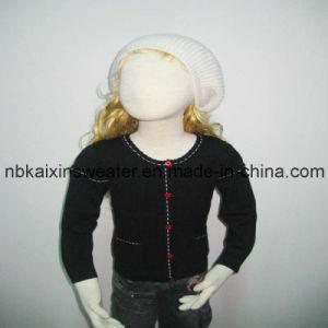 Girl′s Black Intarsia Pullover Sweater (KX-CG74)