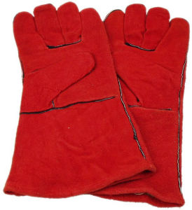 Competitive Red Color Working Leather Glove (SQ-008) pictures & photos