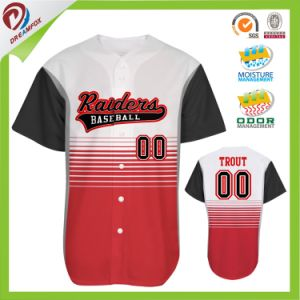 Full Dye Sublimation Custom Button Down Baseball Jersey Wholesale pictures & photos