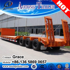 Heavy Duty Tri-Axle 60 Ton Low Flatbed Semi Trailer/ Low Bed Truck Trailer for Excavator Transportation pictures & photos