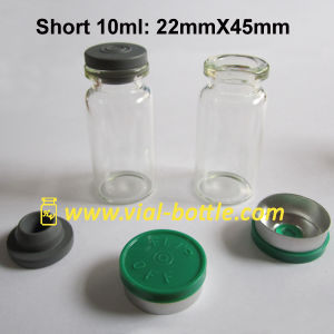 Short 10ml Vial 8ml Glass Vial with Blue Cap and Stopper pictures & photos