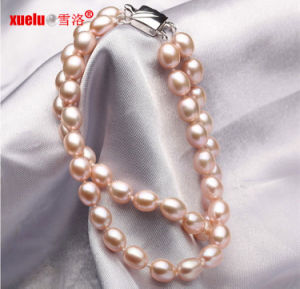 6-7mm Double Strands Oval Shape Lavender Natural Cultured Pearl Bracelet, Pearl Jewelry pictures & photos