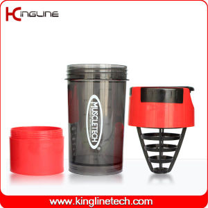 600ml Plastic Shaker Bottle Logo Printing with Plastic Sieve & One Bottom Container(KL-7008) pictures & photos