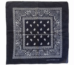 China Factory Produce Customized Logo Printed Navy Blue Paisley Cotton Headwear Bandana pictures & photos