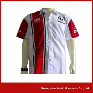 Customized Two Tone Guangzhou Printed Pit Crew Shirts (S116) pictures & photos