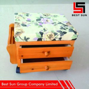 Storage Stool Wooden with Drawer, Versatile Wooden Footrest pictures & photos