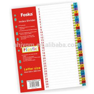 Letter Size Numberic Plastic Index Divider/Letter Size Plastic File Index pictures & photos